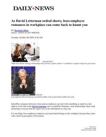As David Letterman ordeal shows, boss-employee romances in ...