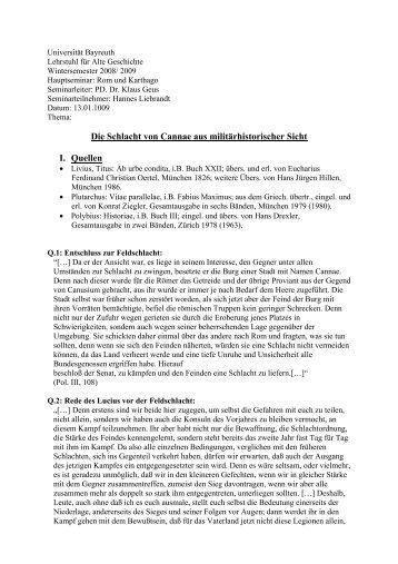Die Schlacht von Cannae aus militärhistorischer Sicht I ... - Klaus Geus
