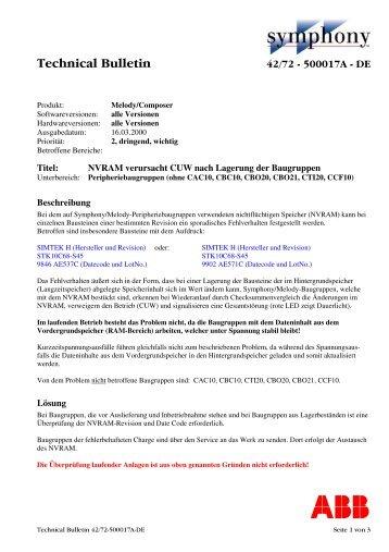 Technical Bulletin Symphony-Melody/Composer 42/72-500017A-DE
