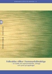 Folkvaldas villkor i kommunfullmäktige (pdf) - Statistiska centralbyrån