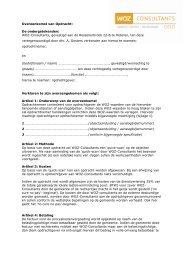 Overeenkomst van Opdracht: De ... - WOZ Consultants