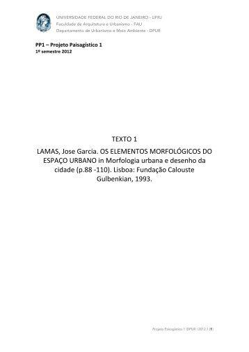 José Lamas - FAU UFRJ Atelier Integrado I