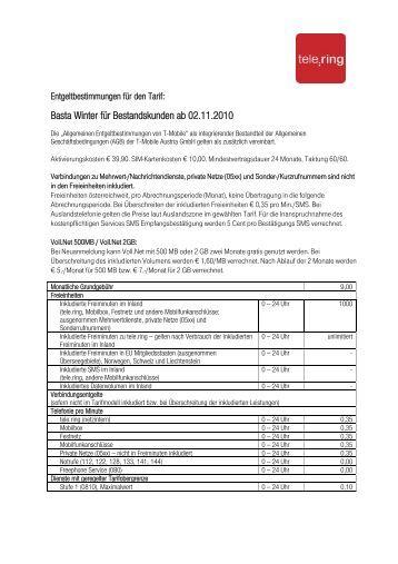 Basta Winter für Bestandskunden ab 02.11.2010