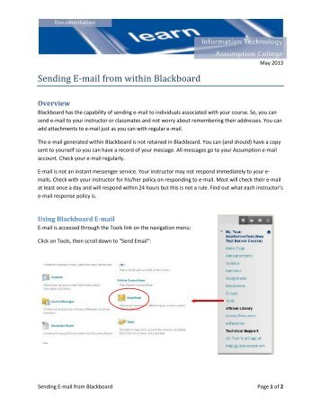 Sending E-mail from within Blackboard