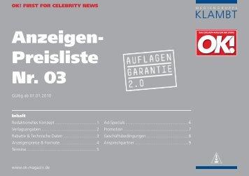 Anzeigen- Preisliste Nr. 03 - Klambt-Verlag
