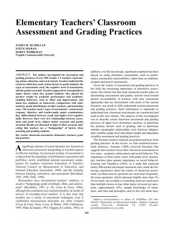 Elementary Teachers' Classroom Assessment and ... - CASTL Home
