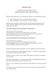 Minimirekommendation_Artikeltaxa 2013 - FST