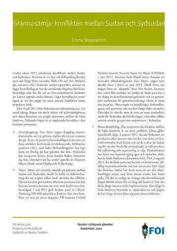 Grannosämja: konflikten mellan Sudan och Sydsudan - FOI