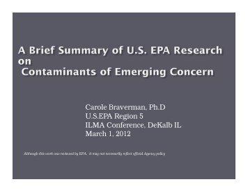 Carole Braverman, Ph.D USEPA Region 5 ILMA Conference ...