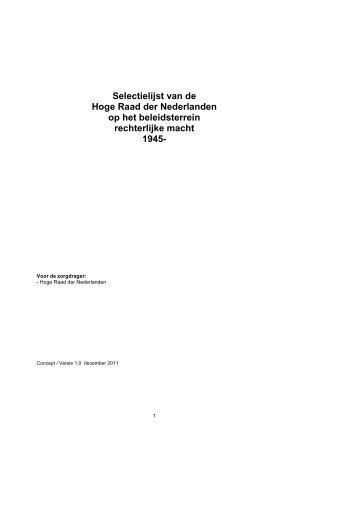 Selectielijst Hoge Raad versie terinzage - Nationaal Archief