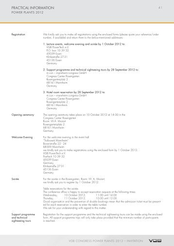 PraCtICal InforMatIon - VGB PowerTech