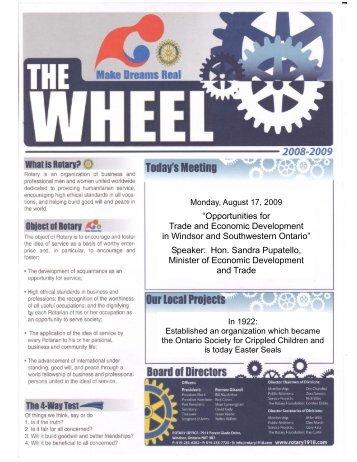 August 17, 2009 Wheel - Rotary Club of Windsor (1918)