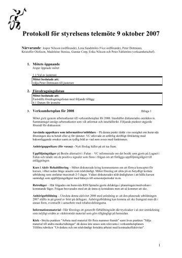 Protokoll för styrelsens telemöte 9 oktober 2007 - Rekryteringsgruppen