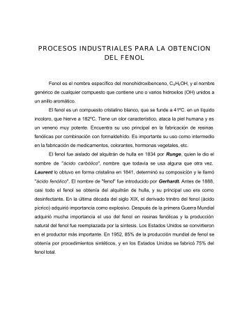Obtención Industrial de Fenoles