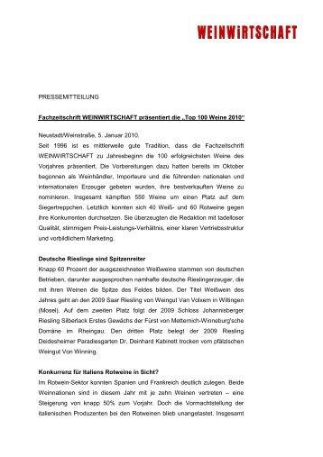 Fachzeitschrift WEINWIRTSCHAFT präsentiert die Top 100 Weine ...