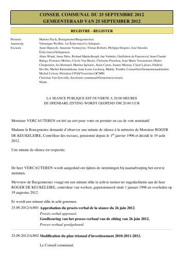 conseil communal du 25 septembre 2012 gemeenteraad van 25 ...