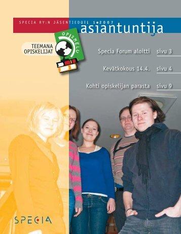Asiantuntija 1/2007: Teemana opiskelijat - Specia