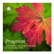 Hela programmet för högtidsföreläsningarna - Umeå universitet