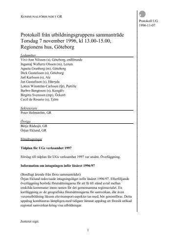 Protokoll från förbundsstyrelsens sammanträde - GR Utbildning