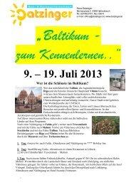 9. – 19. Juli 2013 Wer ist die Schönste im Baltikum? - Datzinger