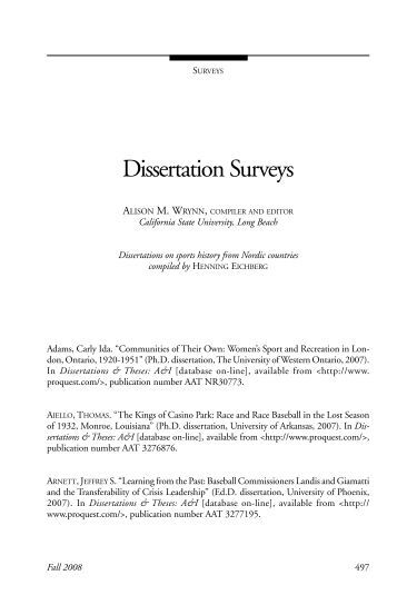 dissertation survey research The problem statement is among the most critical parts of the research proposal or dissertation because it provides focus and direction for the remainder of the survey research and non-experimental research are generally limited to research questions.