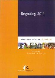 Begroting 2013.pdf - Raadsinformatie - Gemeente Kerkrade