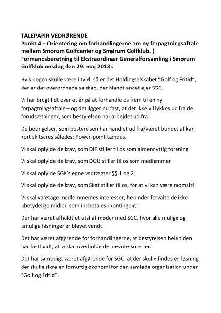Formandens Talepapir Ved Den Ekstraordinaere Smorum Golfklub