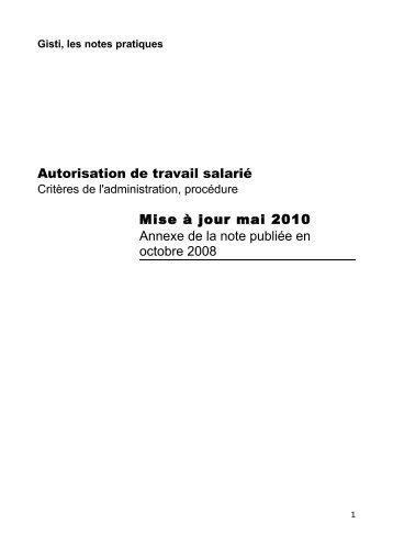 Autorisation de travail salarié Mise à jour mai 2010 Annexe de ... - Gisti
