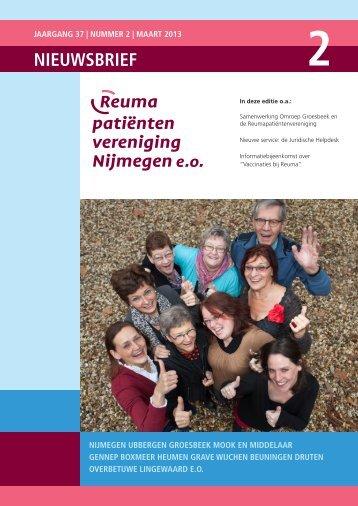 Nieuwsbrief maart 2013 - Reumapatiëntenvereniging Nijmegen
