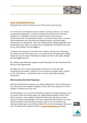 GOB KUNDENPORTAL - GOB Software & Systeme