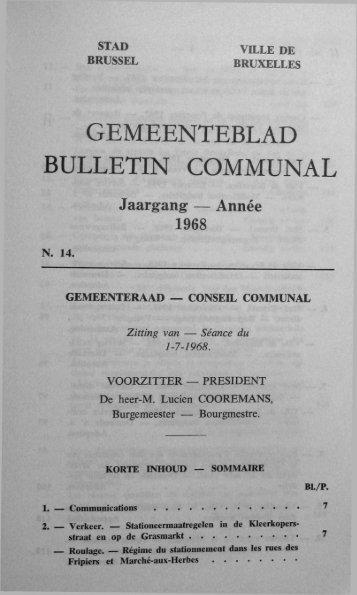 GEMEENTEBLAD BULLETIN COMMUNAL - Ville de Bruxelles
