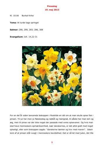 Pinsedag 19. maj 2013 1 Kl. 10.00 Burkal Kirke Tema: At turde tage ...