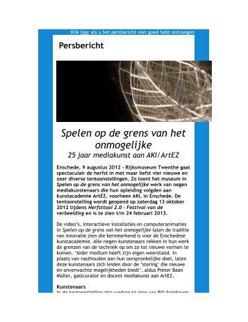 Persbericht Spelen op de grens van het onmogelijke - Rijksmuseum ...