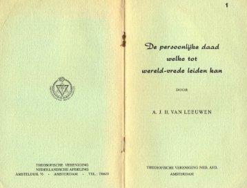 De persoonlijke daad welke tot wereld-vrede leiden kan, 1962