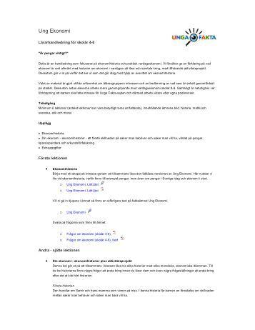 Lärarhandledning för skolår 4-6 - Unga Fakta