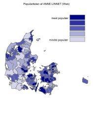 Populariteten af ANNE LINNET (Web) mest populær mindst populær