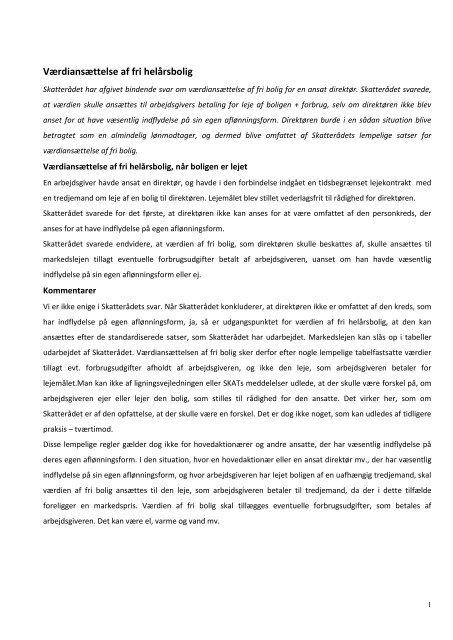 21/5 2010 Nr. 22 Værdiansættelse af fri helårsbolig