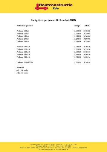 Houtprijzen per januari 2011 exclusief BTW