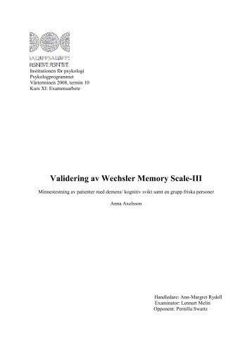 Validering av Wechsler Memory Scale-III - Pearson Assessment