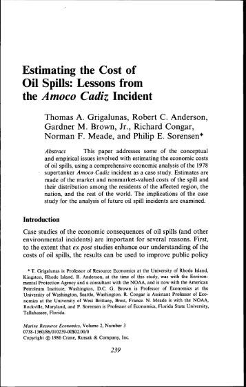 Estimating the Cost of Oil Spills - Lakehead University