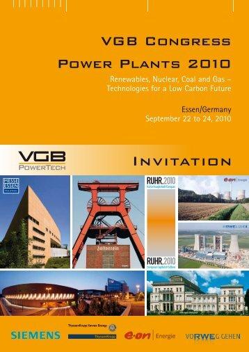 Invitation VGB Congress 2010 - VGB PowerTech