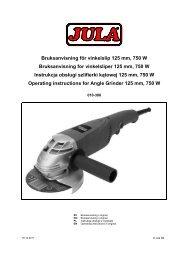 Bruksanvisning för vinkelslip 125 mm, 750 W Bruksanvisning ... - Jula