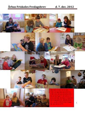 Århus Friskoles Fredagsbrev d. 7. dec. 2012
