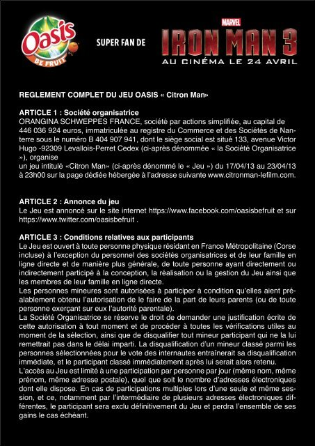 REGLEMENT COMPLET DU JEU OASIS « Citron Man» ARTICLE 1 ...