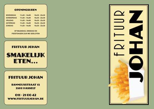 Ontdek onze menukaart - Frituur Johan