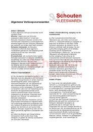 Algemene Verkoopvoorwaarden - Schouten Vleeswaren