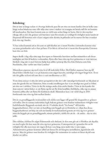 Läs rapporten: Nya steg för fri rörlighet. - Centerpartiet