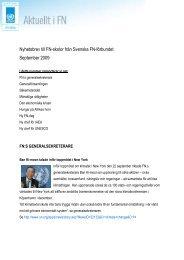 Nyhetsbrev till FN-skolor från Svenska FN-förbundet September 2009