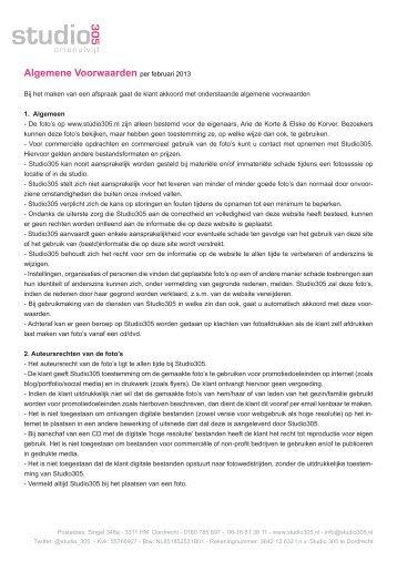 Algemene Voorwaarden per februari 2013 - Studio 305
