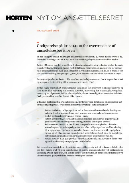 nyhedsbrev fra april 2008 - Horten